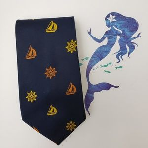 Vintage Navy Blue Nautical Print Necktie Exclusive